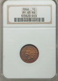 Proof Indian Cents: , 1866 1C PR65 Red and Brown NGC. NGC Census: (34/10). PCGS Population (49/10). Mintage: 725. Numismedia Wsl. Price for probl...