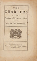 Books:Americana & American History, [Benjamin Franklin, printer]. The Charters of the Province ofPhiladelphia and City of Philadelphia. Philadelphi...