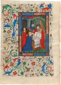Books:Manuscripts, [Illuminated Manuscript Leaf]. Presentation In The Temple of theChrist Child. Fifteenth Century Illuminated Manuscript Mini...