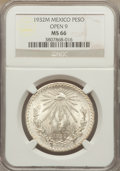 Mexico, Mexico: Republic Peso 1932-M MS66 NGC,...