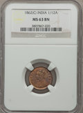 India:British India, India: British India. Victoria 1/12 Anna 1862-(C) MS63 Brown NGC,...