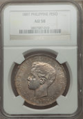 Philippines, Philippines: Alfonso XIII of Spain Peso 1897-SGV AU58 NGC,...