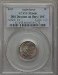 Errors, 1997 1C Lincoln Cent -- Double Denomination on Struck 10C -- MS66 PCGS....