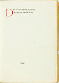 Books:Literature Pre-1900, [Featured Lot]. [The Doves Press]. Robert Browning. DramatisPersonae. [Hammersmith: The Doves Press, 1910]. First e...