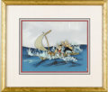 "Animation Art, Pinocchio, Geppetto, Figaro, and Cleo On A Raft ""Pinocchio""Production Cel with Watercolor Production Background Original Art..."
