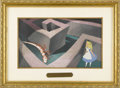 "Animation Art, ""Alice in Wonderland"" Production Cel with Production Pan BackgroundOriginal Art (Walt Disney, 1951). Pretty Alice is trappe..."