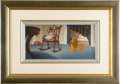 """Animation Art, Lady from """"Lady and the Tramp"""" Production Cel with Production Background from """"Figaro and Cleo"""" Original Art (Walt Disney, 195..."""