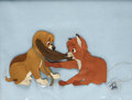 "Animation Art, Tod and Copper ""The Fox and the Hound"" Production Cel Original Art(Walt Disney, 1980). Mischievous young fox Tod tugs on hi..."