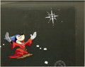 "Animation Art, ""Sorcerer Mickey"" Production Cel Original Art (Walt Disney,undated). Mickey Mouse works his magic as the sorcerer's apprent..."