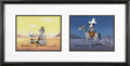 Animation Art, Huckleberry Hound Pair of Production Cels #2764 and #7504 OriginalArt, Each Signed by Bill Hanna and Joe Barbera (undated)....