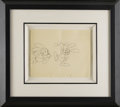 Animation Art, Oswald the Rabbit Production Drawing Original Art (Walter LantzProductions, undated). This rough pencil image of Oswald and...