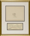 Animation Art, Oswald the Rabbit Production Drawing with Walter Lantz Signed PayRoll Check Original Art (Walter Lantz Productions, undated)....