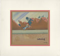Animation Art, Woody Woodpecker Hand Painted Production Cel #984 and BackgroundOriginal Art (Walter Lantz Productions, undated). Woody tak...