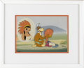 "Animation Art, Buzz Buzzard ""Indian Princess"" Production Cel ID #628 withProduction Background Original Art, Signed by Walter Lantz (Walter..."