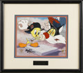 """Animation Art, Tweety and Sylvester """"I Tawt I Tagged a Puddy Tat"""" Limited EditionHand Painted Cel #28/250 Original Art (Warner Bros., 1992)...."""