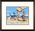 Animation Art, Roadrunner and Wile E. Coyote Limited Edition Hand Painted Cel#253/500 Original Art (Warner Bros., 1991). As always, the ca...