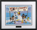 "Animation Art, ""Twins World Champs 1991"" Limited Edition Hand Painted Cel #56/125Original Art (Warner Bros., 1992). Bugs Bunny, Daffy Duck..."