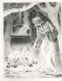 Johnny Craig - The Old Witch Sketch Original Art (undated). Hee, hee, hee! Here's a creepy pencil sketch of the Old Witc...