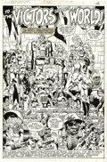 Original Comic Art:Splash Pages, Michael Golden and Al Milgrom - Micronauts #12 Splash page 2Original Art (Marvel, 1979). The Micronauts celebrate the appar...