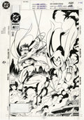 Original Comic Art:Covers, Tom Grummett and Ray Kryssing - Robin #4 Cover Original Art (DC,1994). The Boy Wonder hangs loose with the Spoiler, in this...