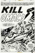 Original Comic Art:Splash Pages, Jack Kirby and D. Bruce Berry - OMAC #3, Splash Page 10 OriginalArt (Marvel, 1975). OMAC stands as Jack Kirby's answer to t...