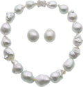 Estate Jewelry:Suites, South Sea Cultured Pearl, Diamond, White Gold Jewelry. ... (Total:2 Items)