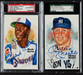 Baseball Collectibles:Others, Hank Aaron and Mickey Mantle Signed Postcards Lot of 2....