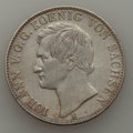 German States:Saxony, German States: Saxony. Johann V Taler 1858-F XF Cleaned With Scratches,...