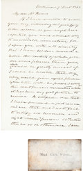 Autographs:Military Figures, [Maryland Secessionist John Hanson Thomas]. Union Major GeneralJohn E. Wool Autograph Letter Signed...