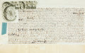 Books:World History, Land Indenture in the Reign of Queen Anne. Dated November 17th,1706. A single vellum leaf folded, measuring approximately 1...