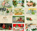 Miscellaneous:Postcards, [Postcards]. Group of Twenty-seven Christmas Themed Postcards.Various publishers and dates, ca. 1910s. Three unused. Measur...