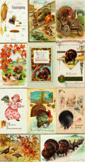 Miscellaneous:Postcards, [Postcards]. Group of Seventeen Thanksgiving Themed Postcards.Various publishers and dates, ca. 1910s. Three unused. Measur...
