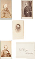 Photography:CDVs, Civil War Governors: Group of Four Cartes de Visite and One Signature....