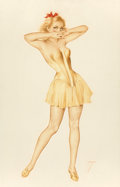 Pin-up and Glamour Art, ALBERTO VARGAS (American, 1896-1982). Vargas Girl in a YellowBustier, The Vargas Girl calendar illustration, October 19...