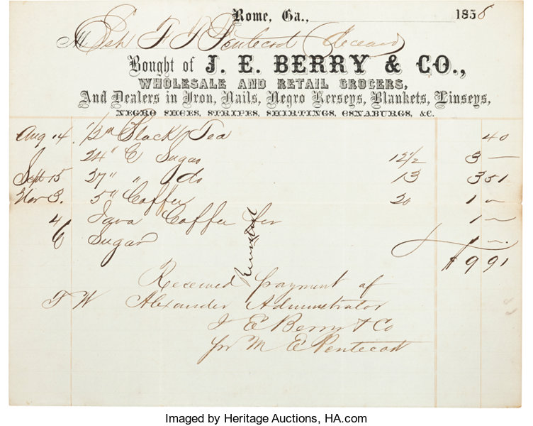Slavery]  Printed Receipt Advertising Negro Clothing