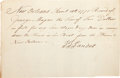 Miscellaneous:Ephemera, [Colonial America]. New Orleans Receipt for Wages....
