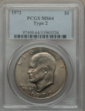 Eisenhower Dollars, 1972 $1 Type Two MS64 PCGS. PCGS Population (496/64). Numismedia Wsl. Price for problem free NGC/PCGS c...