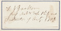 "Autographs:Military Figures, Thomas J. ""Stonewall"" Jackson Clipped Signature...."