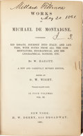 Autographs:U.S. Presidents, Millard Fillmore Signed Copy of W. Hazlitt's Works of Michael deMontaigne, Vol. III....