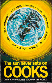 """Cooks Travel Poster (1960s). Poster (25"""" X 40"""") """"The Sun Never Sets on Cooks."""" Miscellaneous"""