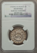 Mexico, Mexico: Philip V 2 Reales 1743 Mo-M AU Details (Surface Hairlines)NGC,...