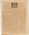 Miscellaneous:Ephemera, [Quakers]. Newspaper: The Pennsylvania Chronicle, and UniversalAdvertiser....