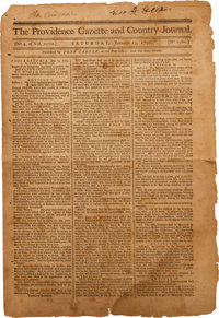 [Pennsylvania Constitution]. Newspaper: The Providence Gazette and Country Journal
