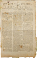Miscellaneous:Ephemera, [French and American Treaty of Alliance]. Newspaper: TheContinental Journal, and Weekly Advertiser....