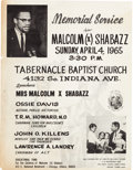Miscellaneous:Broadside, [Malcolm X]. Memorial Service Broadside and Two Form Letters....
