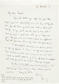 Autographs:Authors, [Malcolm X]. James Baldwin Autograph Letter Signed and Photograph....