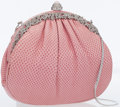 Luxury Accessories:Bags, Judith Leiber Pink Lizard Clutch Bag with Silver Crystal Frame ....