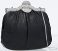 Luxury Accessories:Bags, Judith Leiber Black Lizard Clutch Bag with Silver Crystal Closure ....