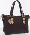 Luxury Accessories:Bags, Gucci Brown Leather Shoulder Bag with Gold Heart Charm. ...