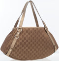 Luxury Accessories:Bags, Gucci Metallic Bronze Leather & Classic Monogram Canvas AbbeyShoulder Bag . ...
